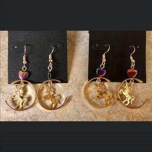 Pretty Dangle Unicorn Heart Earrings